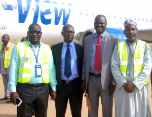 From left Engr. Mohammed Sanni, Regional Nigerian Civil Aviation Authority, Kaduna; Alhaji Ishaq Na'Allah, Executive Director, Business Development, Medview Airline; Engr Lookman Animashaun, Executive Director, Technical; and Alhaji Bello saliu, Managing Director, Batake Resources Handling Company Ltd on arrival at Kaduna International Airport during the inaugural flight of the Airline