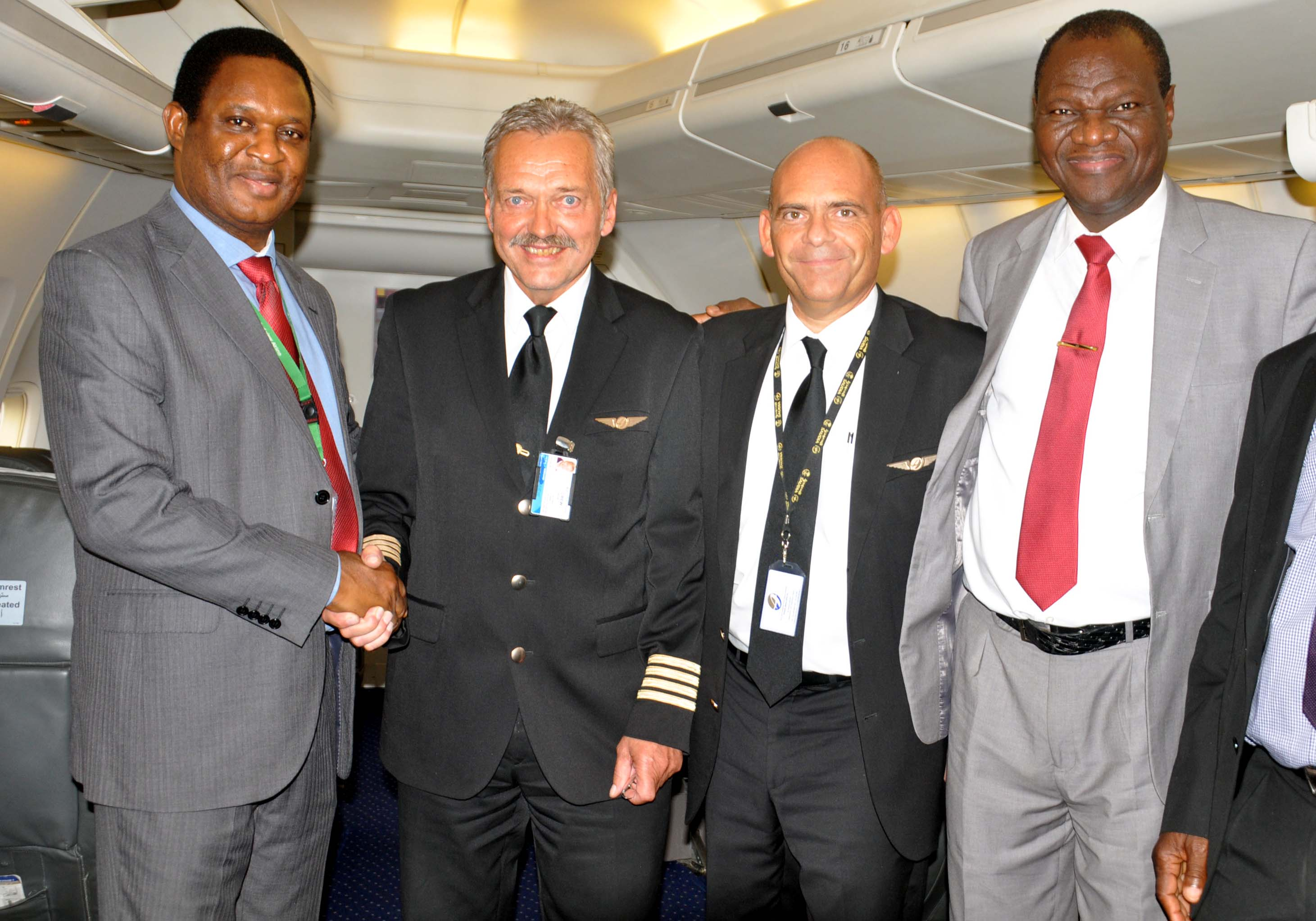 Head of Flight Operations, Med-View Airline Plc, Captain Godfrey Ogbogu, receiving Capt. Santiago Gomez and Director of Engineering, Med-View Airline Plc, Engr. Lookman Animashaun on their arrival from UK to Murtala Mohammed International Airport, Ikeja, Lagos.