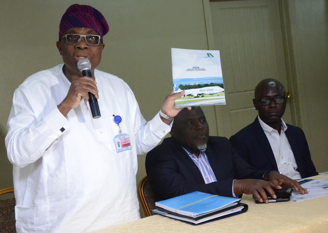 CEO, Med-View Airline, Alhaji Muneer Bankole, Non-Executive Director, Alhaji Bode Oyedele and Executive Director, Business Development, Mr. Isiaq Na'Allah during a Pre- AGM of the airline held at the Welcome Center, Airport Road, Ikeja on Tuesday