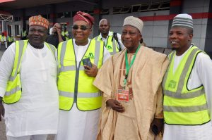 Managing Director/Chief Executive Officer, Med-Vew Airline, Alhaji Muneer Bankole, (2nd left), others from left, Director, Personel, Finance & Supply, Governor's Office Kwara Ste, Alhaji Umar Kayode Sidiq, Amiru Hajj 2017, Prof. Suleiman Jamiu and Chief Imam Shara & Personal Assistant to Amiru Hajj 2017, Mallam Ibrahim M. Orilowo during the first batch of Hajj Pilgrims from Kwara State being airlifted by Med-View Airline at the inaugural ceremony of hajj airlift from Ilorin Airport on Thursday.