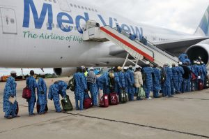 First batch of 2017 Hajj Pilgrims from Kwara State being airlifted by Med-View Airline at the Ilorin International Airport on Thursday