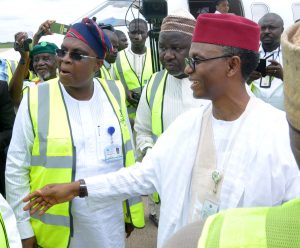 Kaduna State Governor, Mallam Nasir El-Rufai, (right) being received by Managing Director/Chief Executive Officer, Med-View Airline, Alhaji Muneer Bankole during the flag off of 2017 Hajj Operations at Kaduna International Airport, Kaduna on Tuesday