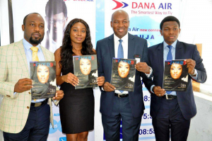 L-R: Managing Director, Revilo Communications, Oliver Enwonwu; Chief Operating Officer, Revilo Communications, Omoladun Ogidan; Accountable Manager, Dana Air, Obi Mbanuzuo and Communications Manager, Dana Air, Kingsley Ezenwa during the re-launch of Dana Air's in-flight magazine-Cloud 9 recently, in Lagos recently