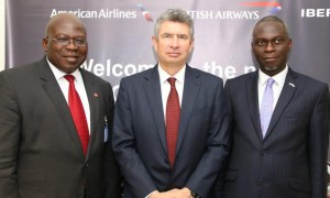 L-r: British Airways Regional Commercial Manager, West Africa, Mr Kola Olayinka; British Deputy High Commissioner, Ray Kyles and President, Nigerian-British Chamber of Commerce (NBCC), Dapo Adelegan at the re-launch of British Airways On Business Programme, held in Lagos recently.