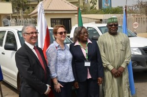 L-r: EU delegate, Richard Young, UNODC rep,Christina Albertin, NAFDAC director of Admin, Yetunde Oni and NDLEA chairman, Muhammad Abdallah at the event