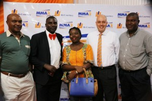 Chima Okereke, Bello Osagie and Doyin Omoniyi (all staff of Aero Contractors Airline); Chief Executive Officer, Bi-Courtney Aviation Services Limited (BASL), Christophe Penninck and Peter Omata, also of Aero Contractors, at BASL's annual stakeholders' appreciation dinner, in Lagos, last Friday.