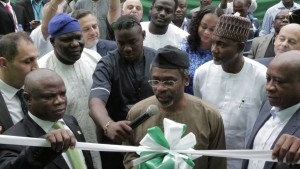 -R, Director General, National Lottery Regulatory Commission (NLRC), Mr. Adolphus Joe Ekpe, Majority Leader, House of Representative Honourable Femi Gbajabiamila cutting the tape and Chairman of International Lottery & Gaming Limited, Prince Adesegun Oniru at the opening of the Niaja Lottery office in Lagos.