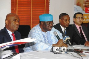 L-r: Chris Ndulue, MD, Arik Air; Sir. Johnson Arumemi-Ikhide, chairman; Capt. Ado Sanusi, deputy MD and Sullah Suraj, Chief commercial manager at a briefing to clarify the issued debt with on Thursday at the airline's office at Lagos airport