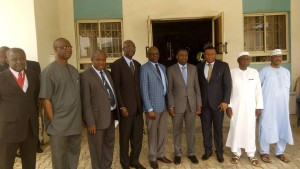 Visiting ICAO president, Olumuyiwa Aliu with heads of Aviation parastatals in Abuja