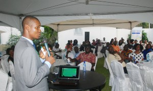 Mr Azeez Abass, Senior Agency Manager, Med-View Airline addressing representatives of various Travel Agencies in Ghana during the Med-View Airline Trade Partners' Forum held at Nigerian High Commission in Accra, Ghana on Friday. Photo Lamidi Bamidele
