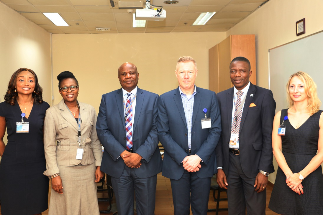 From left: Aviation Solutions Manager, South West Africa, International Air Transport Association (IATA), Mrs. Ewemade Atake; Head, Human Resources, Bi-Courtney Aviation Services Limited (BASL), Mrs. IkeOluwapo ErinOluwa; Chief Financial Officer, BASL, Mr. Olusola Olayinka; Director, E & F Services, IATA, Mr. Manfred Blondeel; Head, Aeronautical Services, BASL, Mr. Ralph Uchegbu and Account Specialist, E & F Services, IATA, Mrs. Christine Charlier, during a courtesy visit by a delegation from IATA to the Murtala Muhammed Airport Terminal Two (MMA2), Lagos, on Wednesday.