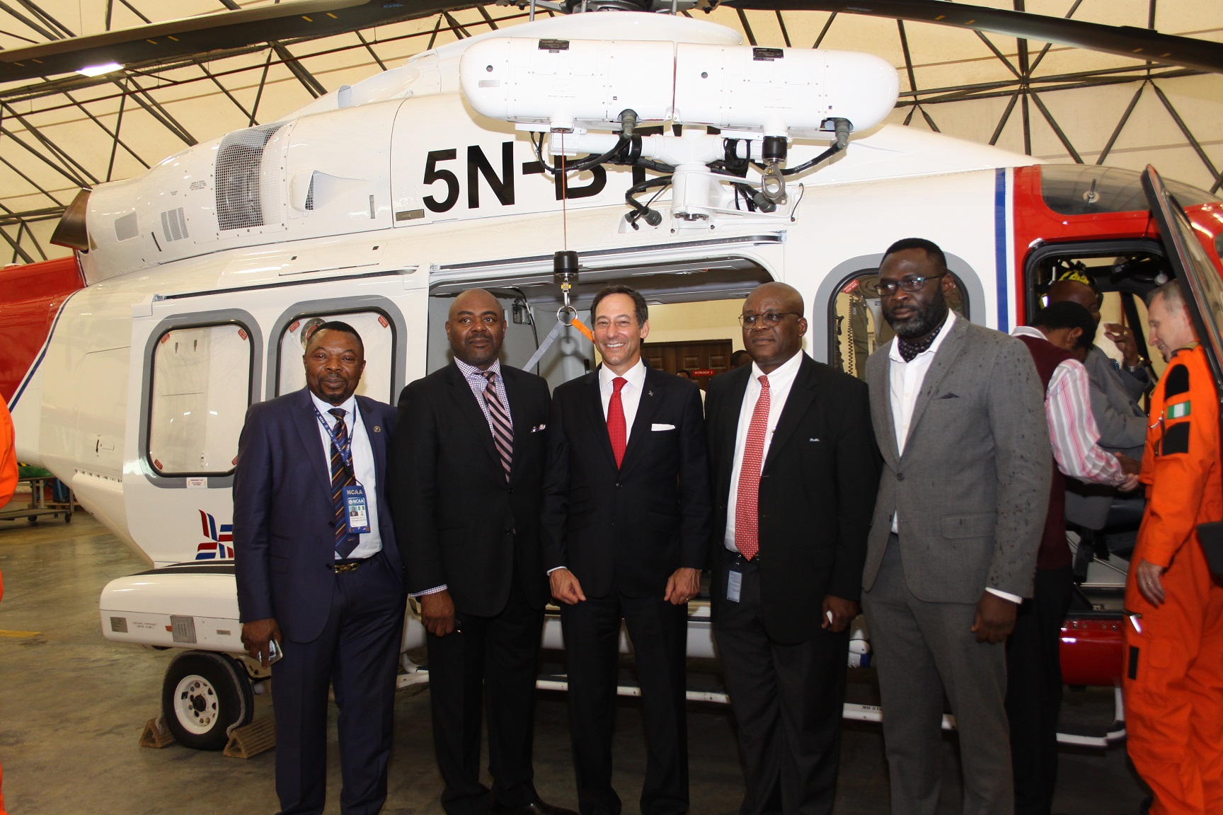 L-R: Mr. Joyce Nkemakolam, Director, Aerodrome & Airspace Standards, Nigeria Civil Aviation Authority (NCAA); Mr. Lawrence Fubara-Anga, Chairman, Bristow Helicopters Nigeria Ltd; Mr. Jonathan Baliff, President/Chief Executive Officer, Bristow Group; Capt. Akin Oni, Managing Director, Bristow Nigeria & Interim Regional Director, Africa and Capt. Alex Oshomah at the launch of the Bristow Helicopters Rescue and Recovery Service (RRS) in Nigeria yesterday in Lagos.