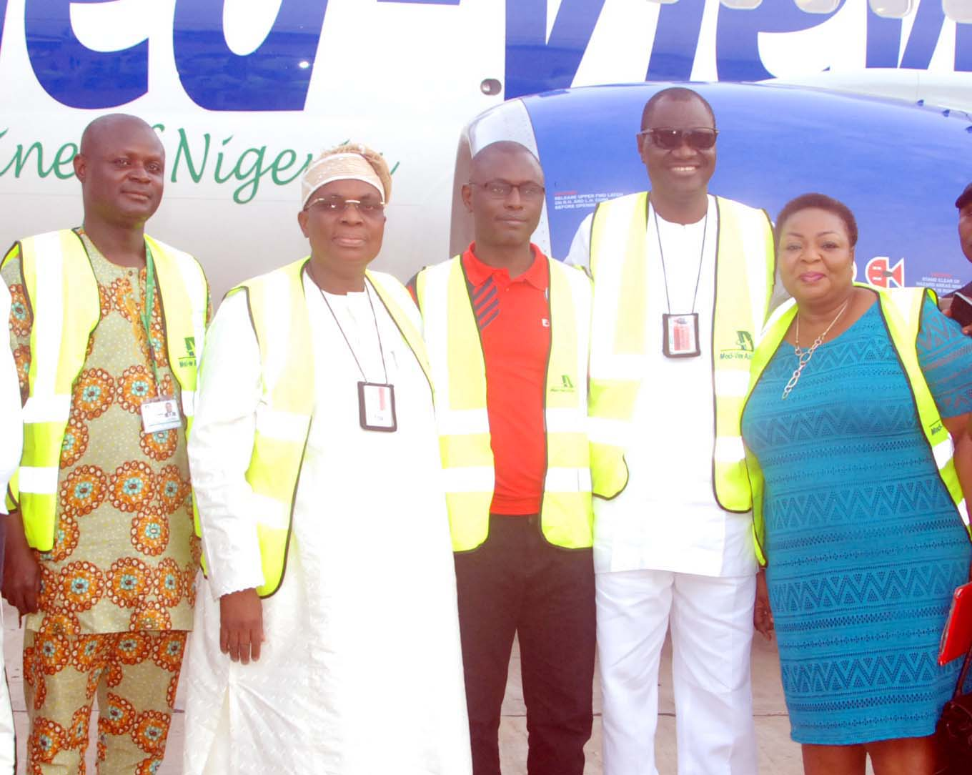 From left Adedayo Olaniyan, Chief Accountant, Medview Airline; Alhaji Muneer Bankole, MD/CEO; Alhaji Na'Allah Ishaq, Executive Director, Business Development; Eng Lookman Animashaun, Executive Director, Technical and Mrs Senanu Ladipo, Relationship Manager Corporate Banking Group Infrastructure, First Bank PLC at the Murtala Muhammed Airport 2 as Med-View Airline took delivery of a Boeing 737-500 Aircraft over the weekend. Photo Lamidi Bamidele