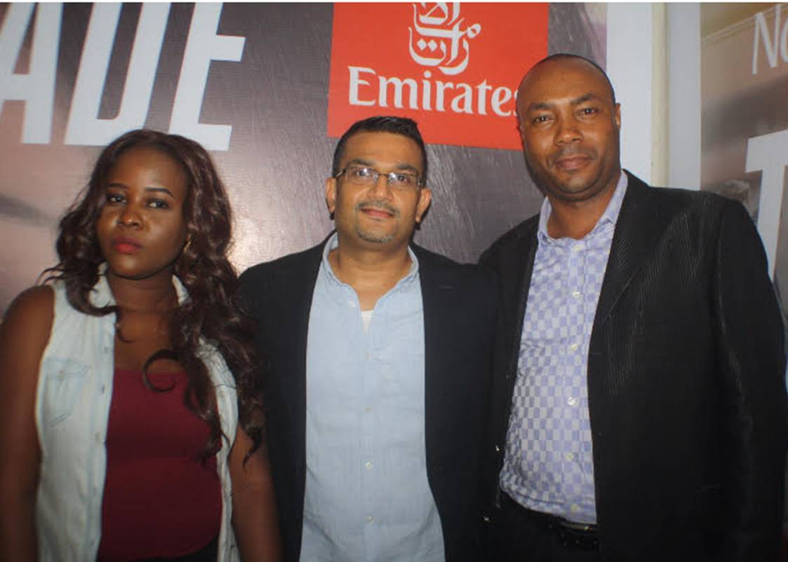 Winners of the Emirates Cinema Competition, Busayo Ogunshina, and Adetula Abiodun, with the Emirates Regional Manager for West Africa, Mr Manoj Nair, at the Emirates Cinema Grand Finale Event held at the Silverbird Cinema, Ikeja City Mall in Lagos