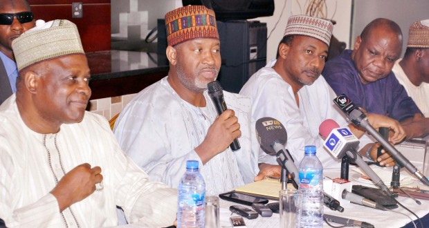 L-r: Director General/Chief Executive Officer, Nigerian Civil Aviation Authority, (NCAA), Capt. Muhtar Shaibu Usman, Minister of State for Aviation, Alhaji Hadi Sirika, Perm Sec. Ministry of Aviation, Alhaji Sabiu Zakari and Commissioner/Chief Executive Officer, Accident Investigation Bureau (AIB), Dr. Felix Abali at a Media chat with Aviation Journalists held at Protea Hotel, GRA, Ikeja, Lagos.