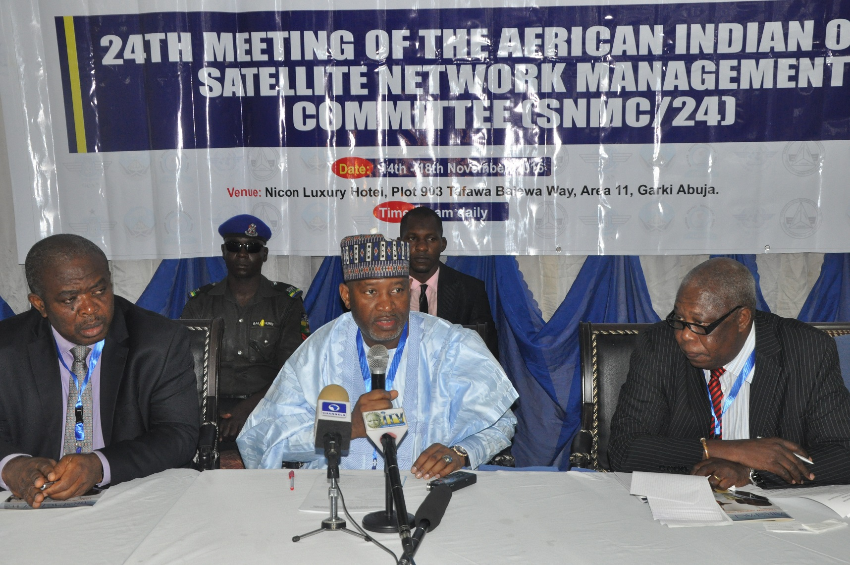 L-R:  Ag. NAMA MD, Engr Emma Anasi, Minister of State, Aviation, Senator Hadi Sirika and Regional Officer, CNS, WACAF, Mr Francois Salmbanga at the ongoing  24th meeting of Western and Central Africa Satellite Network Management Committee, at NICON Luxury Hotel, Abuja.