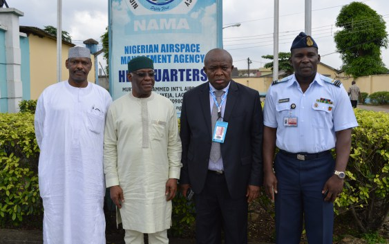 L-R: Dir. of Transport, NCAA, Capt. A M Sidi, DG, NIMET, Dr Athony Anuforom, Ag. NAMA MD, Engr. Emma Anasi and Military Airport Commandant, MMIA, Wing. Cmdr Imoke Emeng Imoke at the AIS Automation forum, NAMA headqurters, Lagos recently.