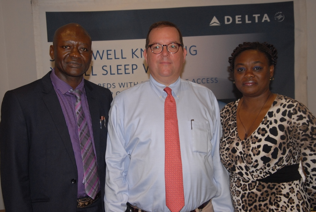 Bobby Bryan, Commercial Director, East and West Africa, Delta Air Lines (middle) flanked by Salami Omeiza, Station Manager, Delta Air Lines (left) and Sefia Emuejevoke, General Manager, Skylogistics Limited (right) during the Delta Air Lines media lunch in Lagos.