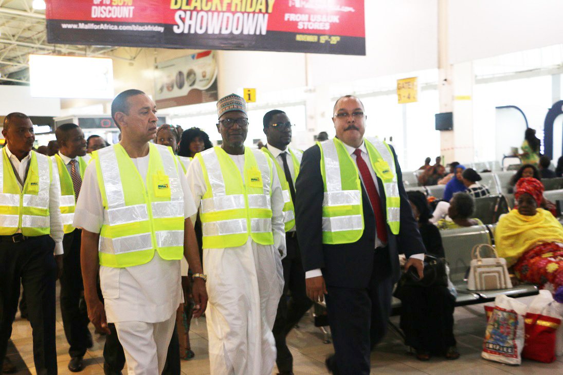 Chairman, Senate Committee on Aviation, Senator Ben Murray-Bruce, Vice-Chairman (left), Senator Yahaya Abdullahi and the Chief Executive Officer, Bi-Courtney Aviation Services Limited (BASL), operator of the Murtala Muhammed Airport Terminal Two (MMA2), Lagos, Captain Jari Olubunmi Williams, during a tour of MMA2 facilities by the committee...yesterday