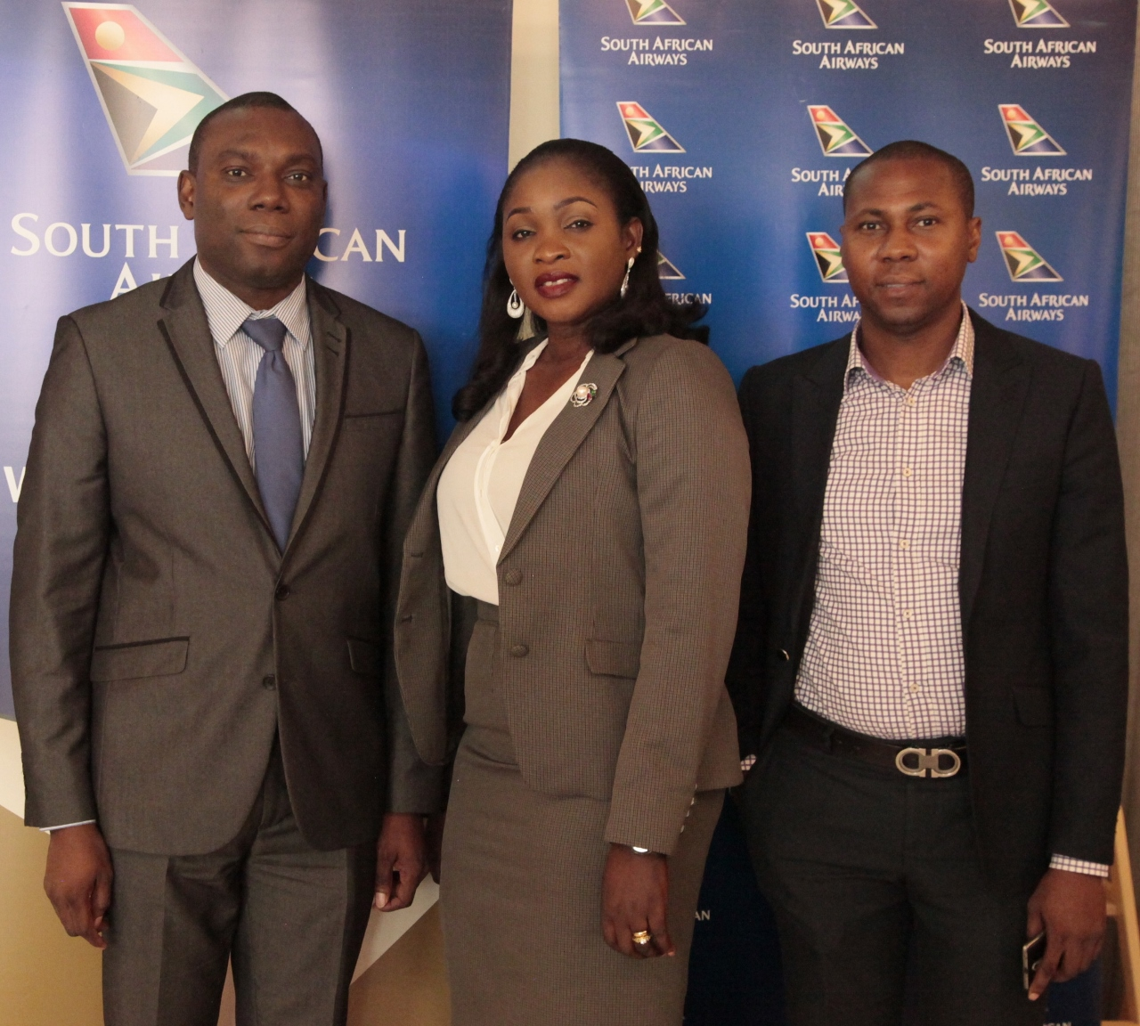 : Ohis Ehimiaghe, Regional Manager, North, West & Central Africa; Kemi Leke-Bamtefa, Head, Sales & Marketing and Jimi Ayodabo, Sales Executive all of South African Airways during the media lunch announcing SAA new A330-300 aircraft on the Lagos-Johannesburg route.