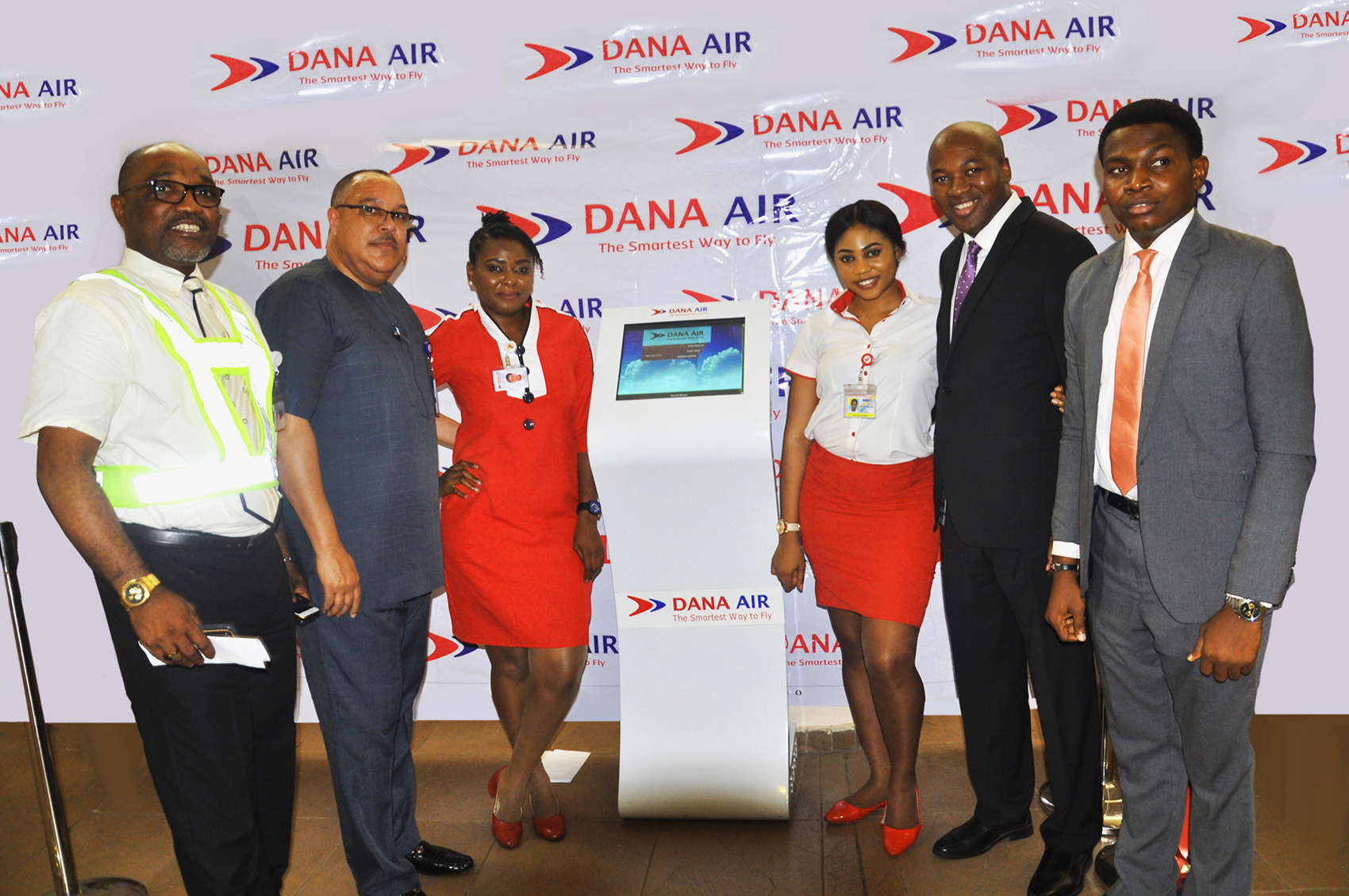 L-R: Dana Air's Head of Ground Operations Mr Emem Ettete, Captain Jari Williams, CEO of MMA2, Juliet Ogbeche, Customer Service Agent, Edekobi Stella, Mr. Obi Mbanuzuo Accountable Manager of Dana Air, and Kingsley Ezenwa Communications Manager, during the launch of Dana Air's Self Service Kiosk at MMA2 Lagos recently