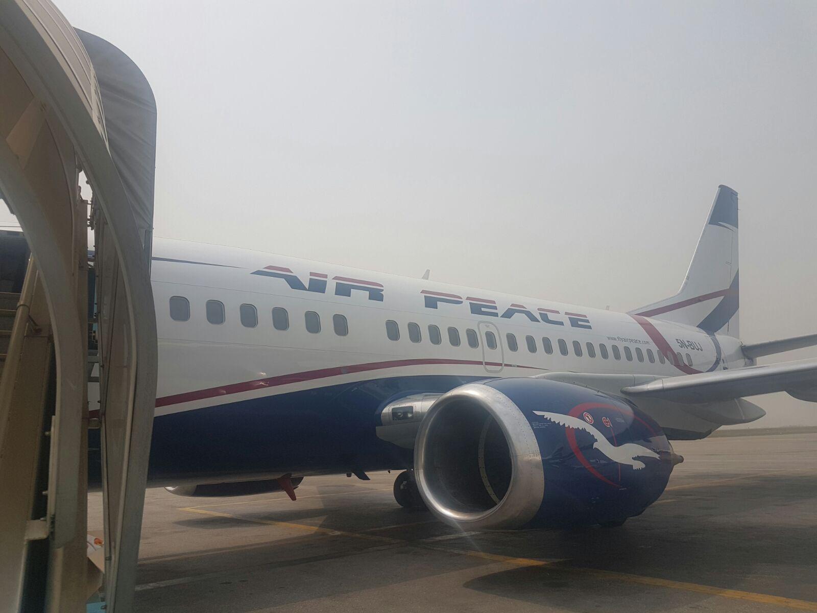 Air Peace's new B737-500 aircraft at the Murtala Muhammed Airport, Lagos on Tuesday