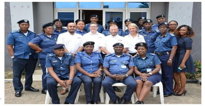 A Cross section of participants (Aviation Security Personnel –AVSEC) both from NCAA and FAAN and the four  UN resource persons  for the global  body -initiated training on  counter-terrorism  simultaneously in Lagos and Abuja last  Monday.