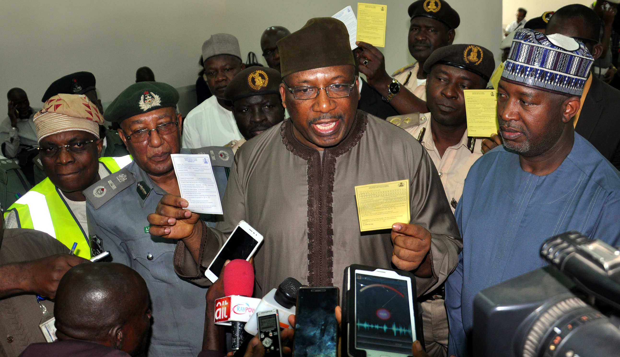 Minister of Internal Affairs, Alhaji Abdulrahman Danbazau, (2nd right) explaining some points to Journalists, with him are: from right, Minister of State, Aviation, Sen. Hadi Sirika, Assistant Comptroller General, Nigeria Customs, Alhaji Muhammed Ahmed and Managing Director/Chief Executive Officer, Med-View Airline Plc, Alhaji Muneer Bankole during an Inspection tour to Kaduna Local and International Airport on Thursday
