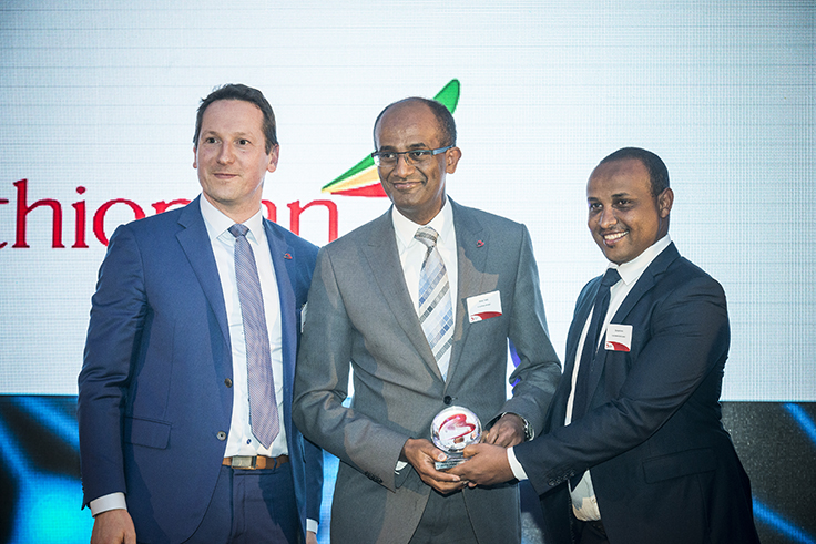 From left to right: Brussels Airport representative, Mr. Bisrat Tedla, Benelux Area Manager Ethiopian Airlines and Mr. Dereje Kuma, Manager, Ethiopian Cargo