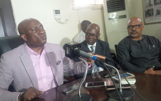 From: L-R Barrister Allen Onyema, the chairman and chief executive officer of Air Peace, Captain Wellington Eyimina, director Flight Operations of Air Peace and Captain Victor Egeonu, chief pilot of Air Peace at the press briefing at Air Peace office in Ikeja Lagos on Monday