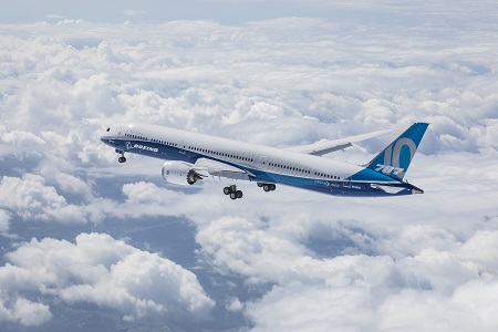 he Boeing 787-10 Dreamliner took to the skies for the first time today at Boeing South Carolina. This air-to-air photo shows the airplane during its flight. Source: Boeing.com