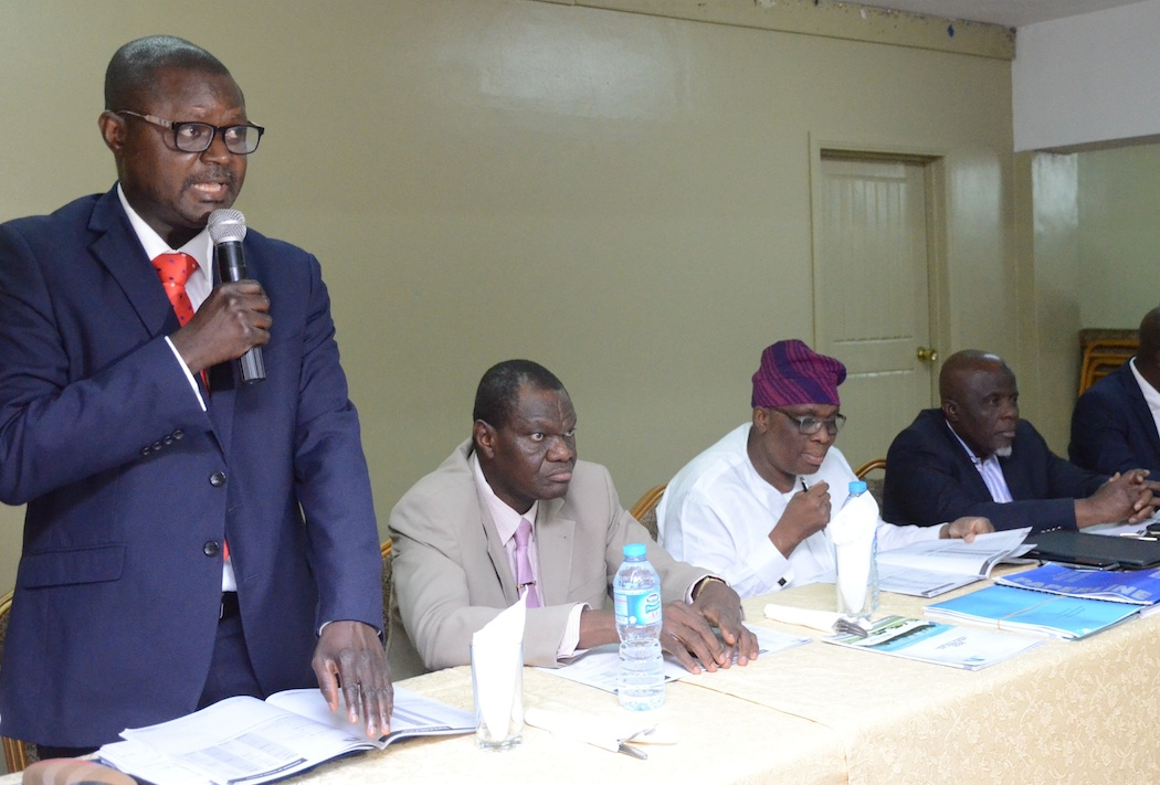 L-R: Executive Director, Finance and Accounts, Med-View Airline, Mr. Adedayo A. Olaniyan, Executive Director,Chief Operating Officer, Engr. Lookman O, Animashaun, Managing Director/CEO, Alhaji Muneer Bankole, Non-Executive Director, Alhaji Bode Oyedele and Executive Director, Business Development, Mr. Isiaq Na'Allah during a Pre- AGM of the airline held at the Welcome Center, Airport Road, Ikeja on Tuesday