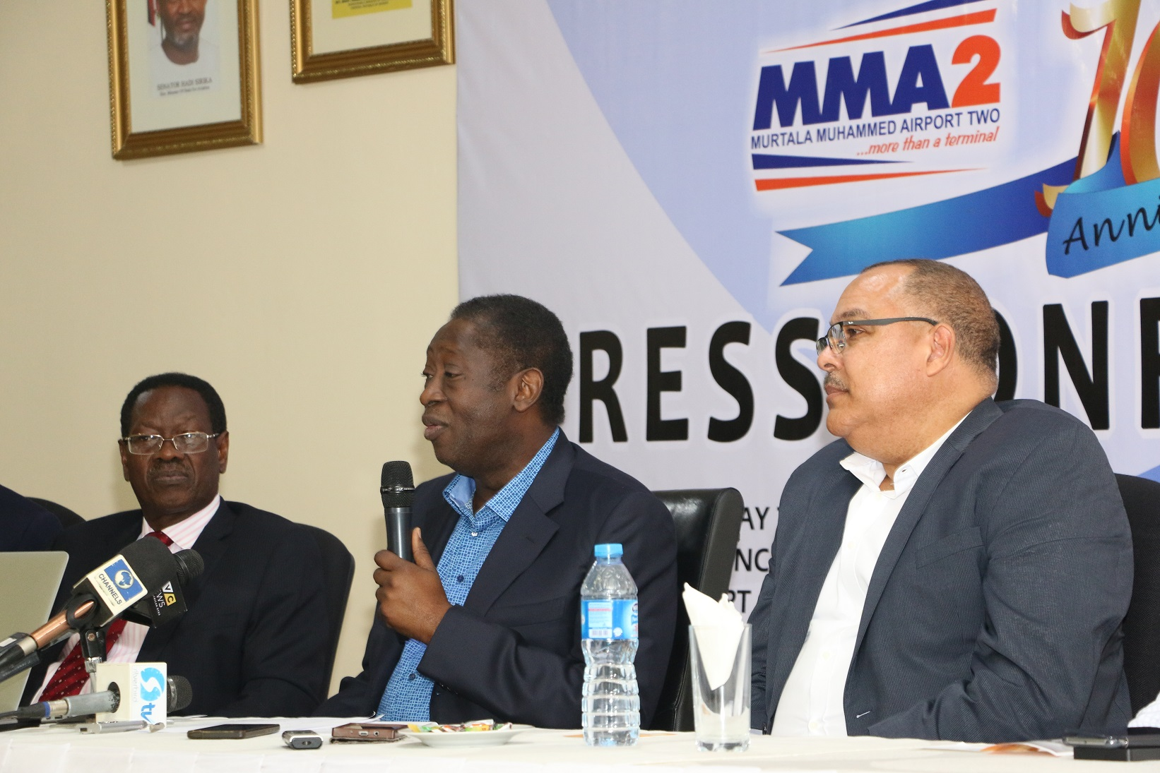 From left: Vice-Chairman, The Resort Group, Chief Kola Akinbami, Chairman, Dr. Wale Babalakin (SAN) and Chief Executive Officer, Bi-Courtney Aviation Services Limited (BASL), a subsidiary of The Resort Group, Captain Jari Williams at the Murtala Muhammed Airport Terminal Two (MMA2's) 10th Anniversary Press Conference held in Lagos yesterday.
