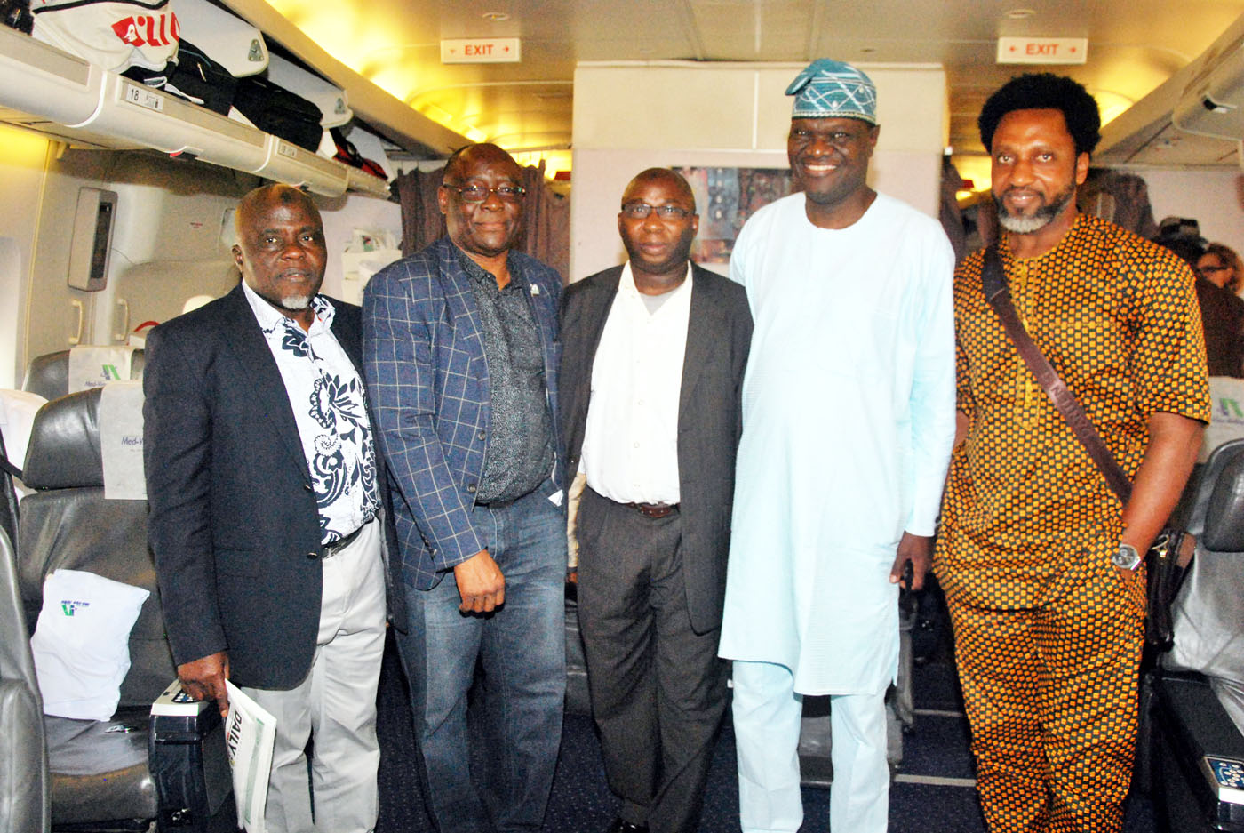 From left Alhaji Bode Oyedele, Non-Executive Director, Med-View-Airline PLC; Mr Benedict Adeyinka, former Director, Airworthiness Standard, Nigerian Civil Aviation Authority NCAA; Alhaji Isqil Bello, Med-View Passenger; Engineer Lookman Animashaun, Chief Operating Officer, Med-View Airline and Mr Ricardo Agbor, Popular Nollywood Actor in a Lagos - Gatwick London Med-View Boeing 747 bound Aircraft at Murtala Muhammed International Airport, Ikeja, Lagos on Sunday