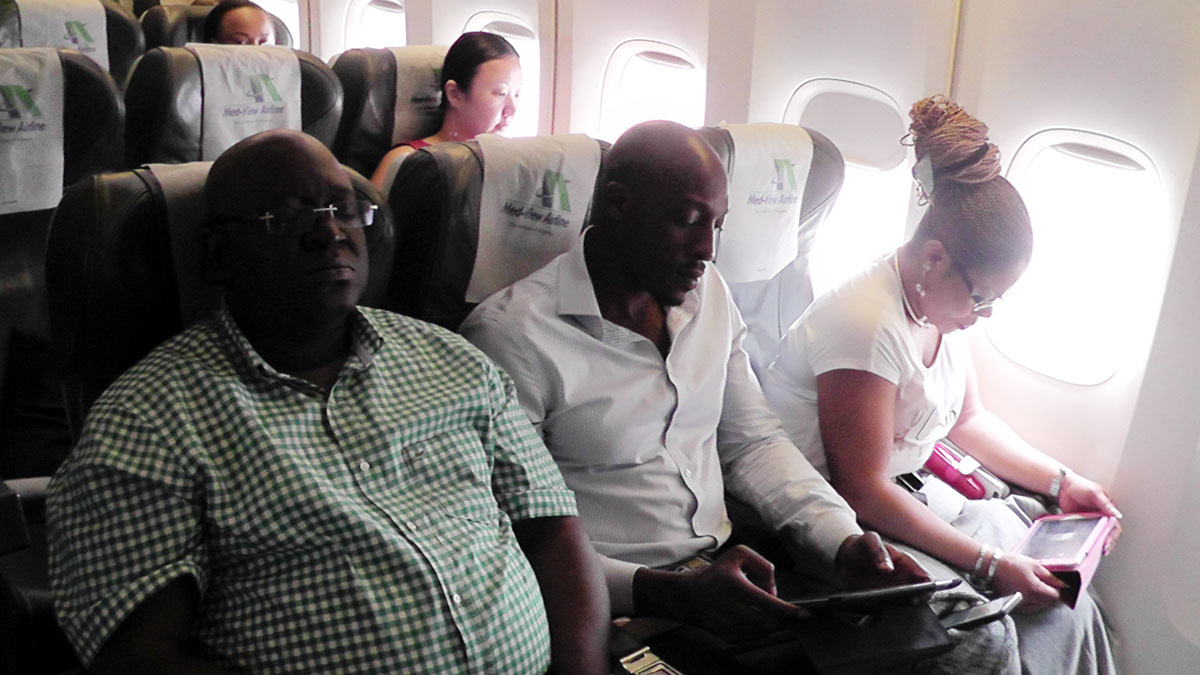 Some Med-View Airline Lagos-Gatwick London bound passengers on board Boeing 747 Aircraft at the Murtala Muhammed International Airport, Ikeja, lagos on sunday.