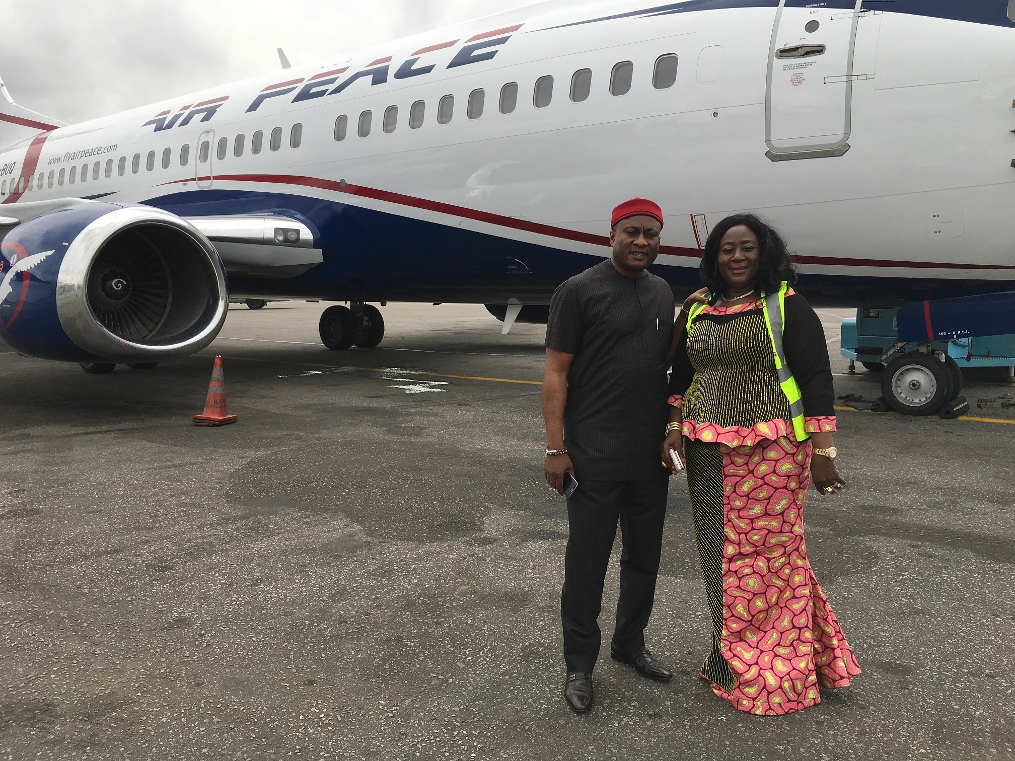 Chairman/Chief Executive Officer of Air Peace, Mr. Allen Onyema and his wife, Alice at the Murtala Muhammed Airport, Lagos during the arrival of the airline's 13th aircraft, a B737-300 on Friday