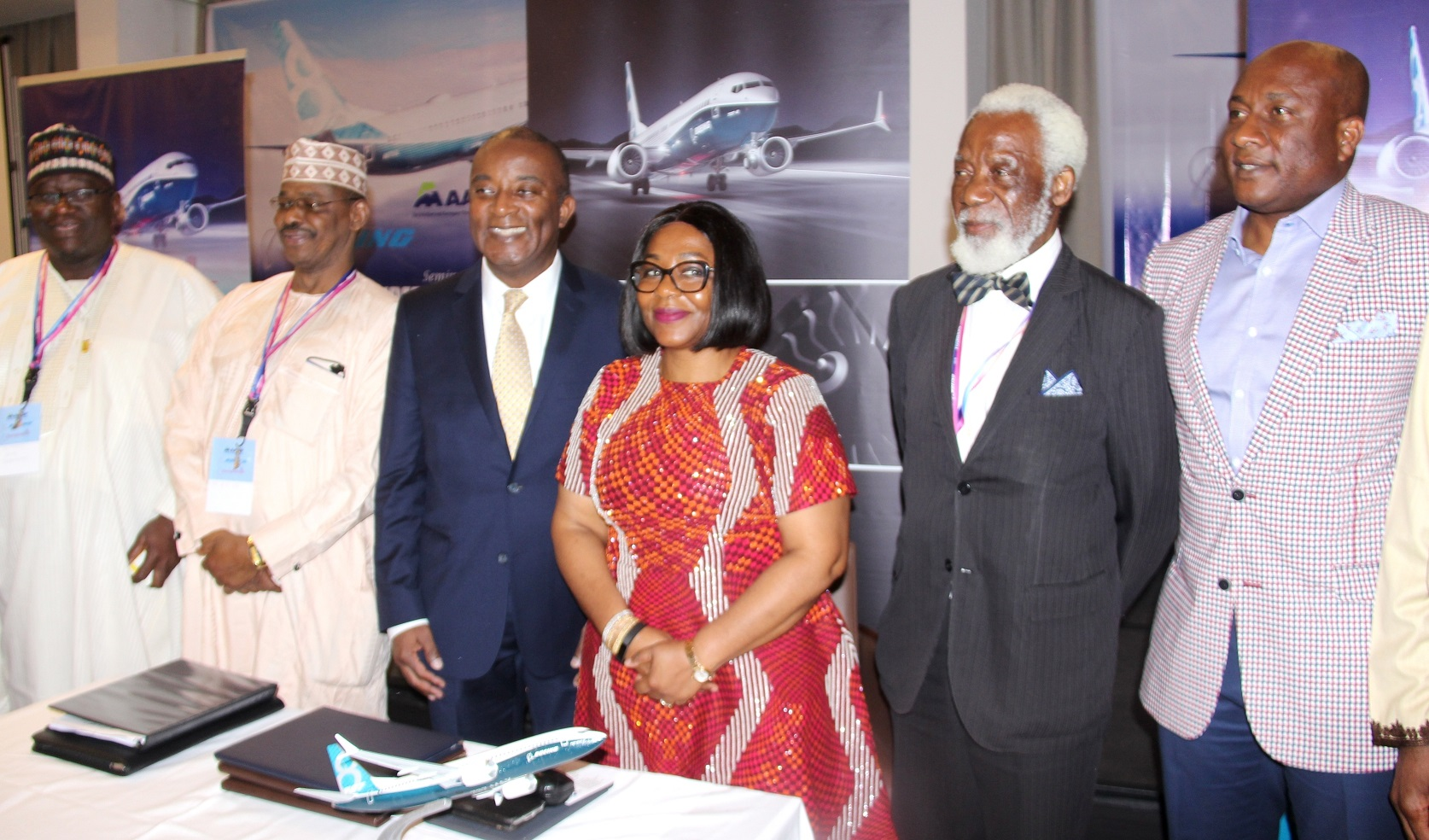 L-R: Chairman, Luban Limited, Alhaji Jani Ibrahim; Representative of Minister for State of Aviation, Director of Operation and Training of Nigerian Civil Aviation Authority, Capt. Sidi Abdullahi; Sales Director, West Africa Commercial Airplanes, Boeing, Mr. Larry Tolliver; Executive Director, Spring Fountain, Mrs. Tokunbo Fagbemi; Special Guest, Chief Femi Olopade and Chairman, Air Peace, Mr. Alen Onyema, during the Seminar on 2017 Expanded Horizon Conference theme: Aviation Education Infrastructure Challenges and Potential and the signing of agreement ceremony between Boeing and Springfountain in Lagos