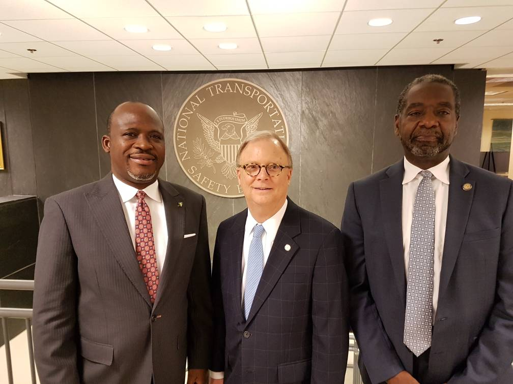 L-R. Commissioner/CEO Accident Investigation Bureau (AIB), Engr. Akin Olateru with the Chairman, National Transportation Safety Bureau (NTSB), Robert L. Sumwalt and Managing Director of NTSB, Mr Dennis Jones at the headquarters of NTSB, Washington DC, United States of America during Olateru's recent official visit to NTSB.