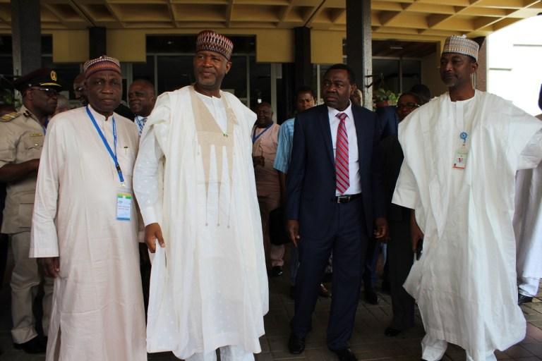 L-R: Managing Director, Federal Airports Authority of Nigeria (FAAN), Engr. Saleh Dunoma; Minister of State for Aviation, Sen. Hadi Sirika; International Civil Aviation Organisation (ICAO) Dr Olumuyiwa Bernard Aliyu; Permanent Secretary, Ministry of Transportation, Alhaji Sabiu Zakari.