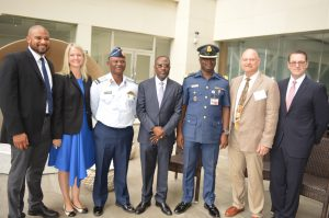 (L-R) Leonard Li Carter, Federal Aviation Administration (FAA) Event Investigations Manager, Kimberly Pyle, Civil Air Navigation Services Organization (CANSO) Safety Programme Manager, AVM Bello Garba, Director of Air Traffic Services, Nigeria Air Force, NAMA MD, Capt. Fola Akinkuotu, Roger Motzko, Air Traffic Organization Forensics Manager, WG. CDR Oluwasegun Okeniyi , Military Commandant, Airport Command, MMIA Lagos and Grady Stone, FAA Senior Representative in Africa at the opening of a one-week Air Traffic System Investigator Workshop in Lagos on Monday. ATS 2