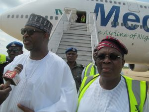 Sen. Hadi Sirika, Minister of State, Aviation and Alhj. Muneer Bankole, CEO, Medview Airline Plc during the flag-off of 2017 Hajj at Kaduna Int'l airport on Tuesday