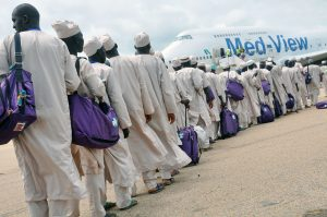 Pilgrims to Saudi Arabia boarding the Med-View Airline aircraft during the flag off of 2017 Hajj operations at Kaduna International Airport, Kaduna on Tuesday